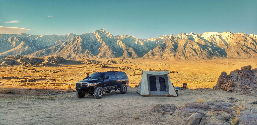 Kodiak Canvas Family Tent setup in Alabama Hills Ca